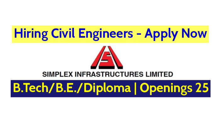 Simplex Infrastructures Ltd Hiring Civil Engineers B.TechB.E.Diploma Openings 25 Apply Now