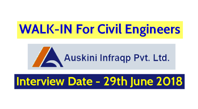Auskini Infraqp Pvt Ltd WALK-IN For Civil Engineers Interview Date - 29th June 2018
