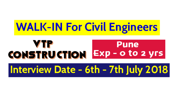 WALK-IN For Civil Engineers Pune Exp - 0 to 2 yrs Interview Date - 6th - 7th July VTP Construction