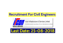 Ircon Infrastructure & Services Limited Recruitment For Civil Engineers Last Date 25-08-2018