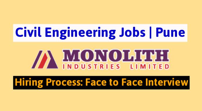 Monolith Industries Limited Civil Engineering Jobs Pune