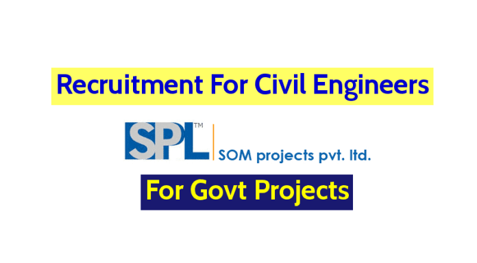 Som Projects Pvt Ltd Recruitment For Civil Engineers For Govt Projects