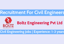 Boltz Engineering Pvt Ltd Recruitment For Civil Engineers Experience 1-3 years Civil Engineering Jobs