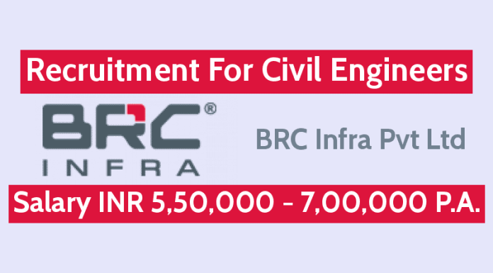 BRC Infra Pvt Ltd Recruitment For Civil Engineers Salary INR 5,50,000 - 7,00,000 P.A.