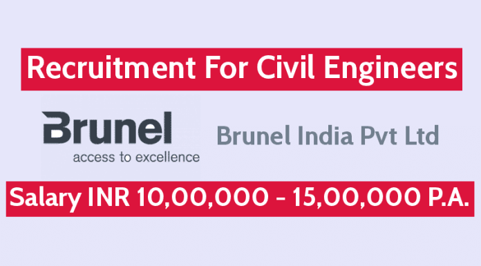 Brunel India Pvt Ltd Recruitment For Civil Engineers Salary INR 10,00,000 - 15,00,000 P.A.