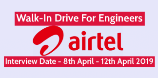 Bharti Airtel Ltd Walk-In For Engineers Interview Date - 8th April - 12th April 2019