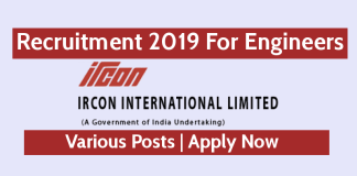 IRCON Recruitment 2019 For Engineers Various Posts Apply NowIRCON Recruitment 2019 For Engineers Various Posts Apply Now