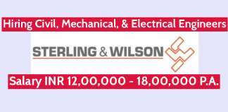 Sterling And Wilson Hiring Civil, Mechanical, & Electrical Engineers | Salary INR 12,00,000 - 18,00,000 P.A.