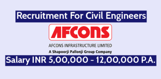 Afcons Infrastructure Ltd Recruitment For Civil Engineers Salary INR 5,00,000 - 12,00,000 PA.