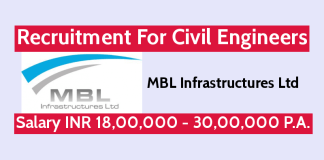 MBL Infrastructures Ltd Recruitment For Civil Engineers Salary INR 18,00,000 - 30,00,000 P.A.
