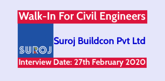 Suroj Buildcon Pvt Ltd Walk-In For Civil Engineers Interview Date 27th February 2020