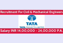 TATA Projects Ltd Recruitment For Civil & Mechanical Engineers Salary INR 14,00,000 - 24,00,000 P.A.