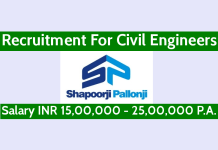 Shapoorji Pallonji Recruitment For Civil Engineers Salary INR 15,00,000 - 25,00,000 P.A.
