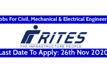 RITES Recruitment For Civil, Mechanical & Electrical Engineers Last Date To Apply 26th Nov 2020