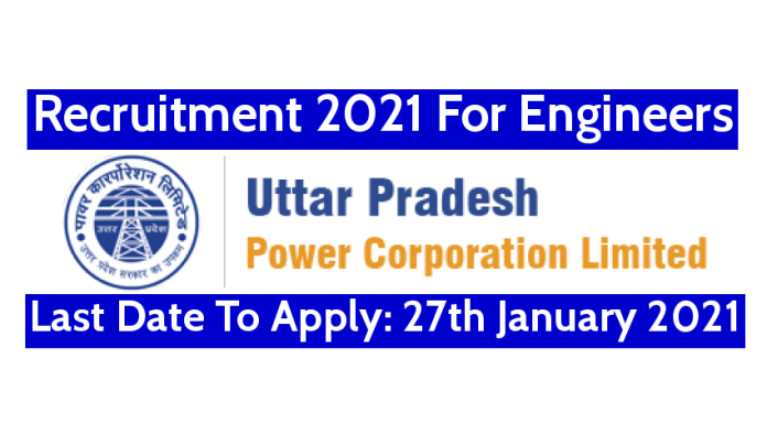 UPPCL Recruitment 2021 For Engineers Last Date To Apply 27th January 2021