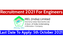 IREL Recruitment 2021 For Engineers Last Date To Apply 5th October 2021