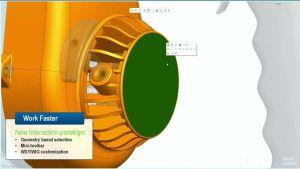 Im Vollbildmodus kann man sich voll aufs Modellieren konzentrieren und arbeitet mit Kontextmenüs (Screenshot aus der Breakout-Session von PTC).