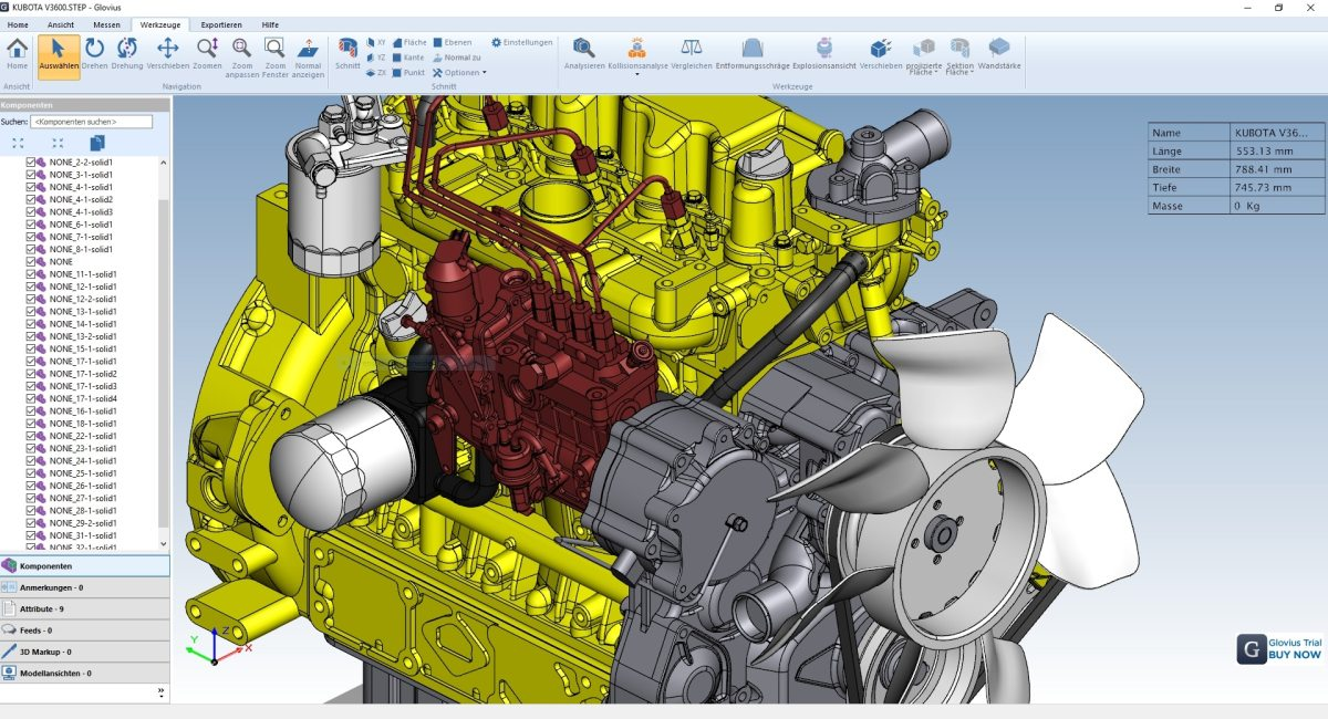 Glovius 5.1.217 – CAD-Viewer mit Ordinaten und Analysen