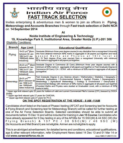 Indian Air Force Fast Track Selection Interview