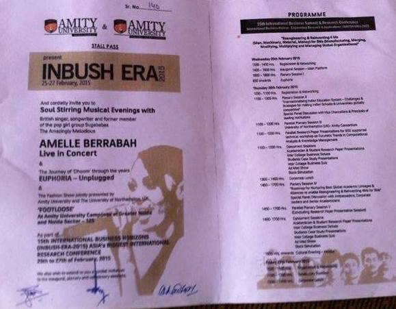Amity University INBUSH ERA - 2015 Passes