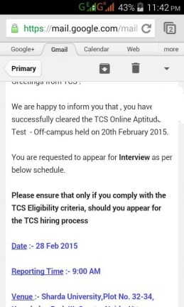 TCS Off-Campus Result & Interview Details Email ScreenShots-1