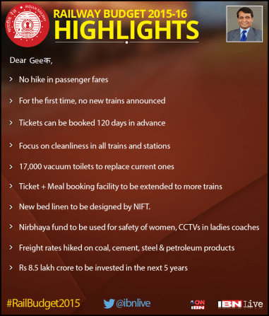 A Picture of Top 10 Railway Budget Highlight Tweeted to us by CNN-IBN on Twitter