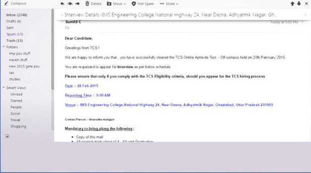 TCS Off-Campus Result & Interview Details Email ScreenShots-2