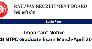 Important Notice: RRB NTPC Graduate Exam March-April 2016