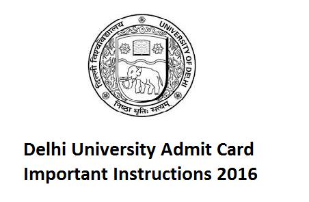 Important Notice - Delhi University (DU) UG PG Admission Admit Card 2016