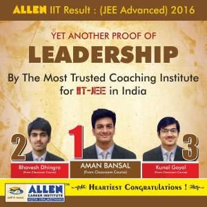 JEE Advanced 2016 Toppers allen kota coaching