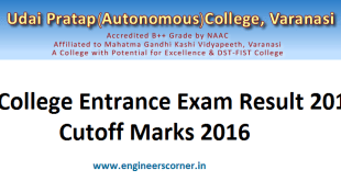 UP College varanasi entrance result cutoff marks 2016 upcollege.org