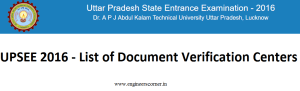 UPSEE 2016 - List of Document Verification Centers