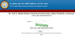 AKTU - UPTU B.Tech 2nd year 4th Sem Result 2016