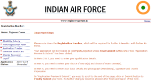 Download India Air Force AFCAT Admit Card