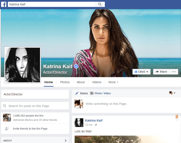 Katrina Kaif Official Facebook Account