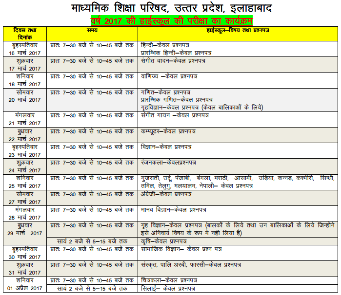 Up board high school class 10th exam time table for Up board 10th time table