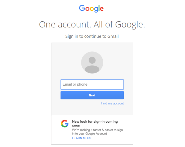Google Old Sign-in Page