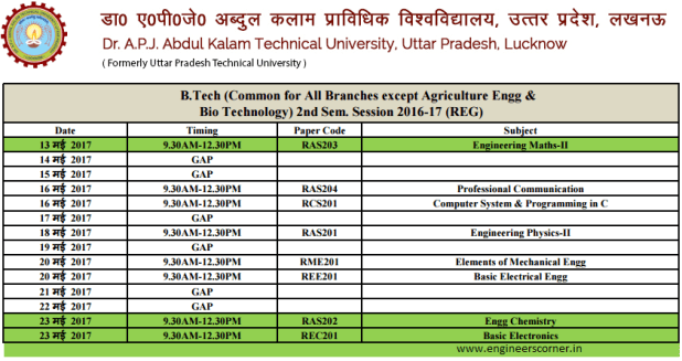AKTU Even Semester Regular & Carry Over Exam Datesheet