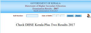 DHSE Kerala class 12th result 2017