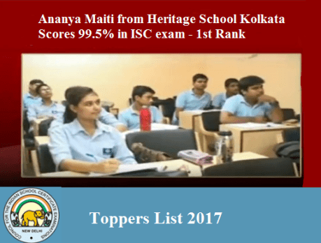 ICSE & ISC Board Toppers, Merit List 2017