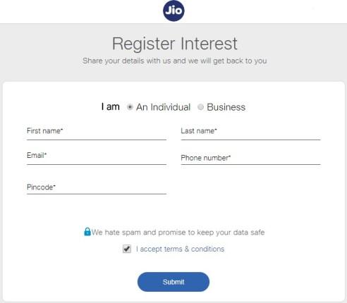 Jio Phone Registration