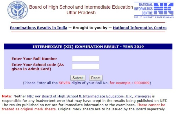 UP Board Intermediate Class 12th Result Declared 2019 @upresults nic