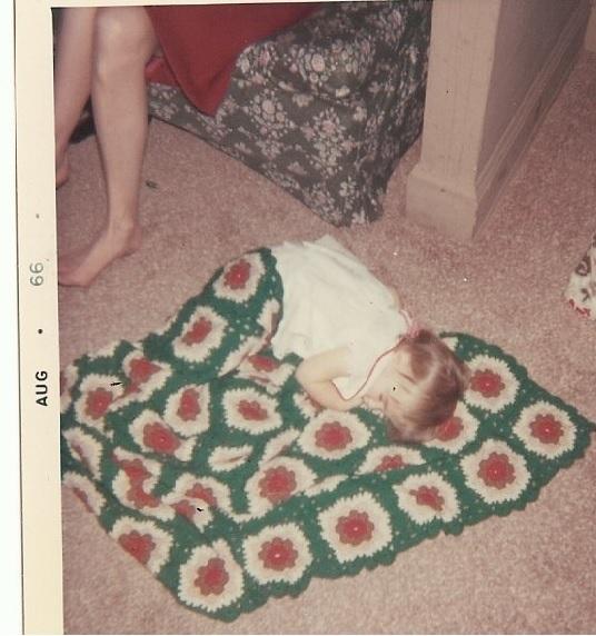 Grandma Elizabeth's Crocheted Afghan, Margaret sleeping on it.