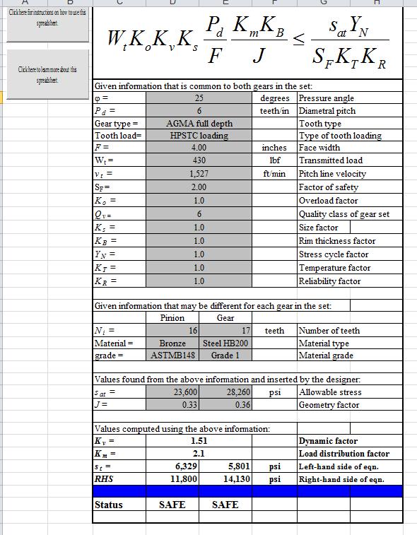 AGMA Spur Gear Bending Stress Excel Spreadsheet Calculator