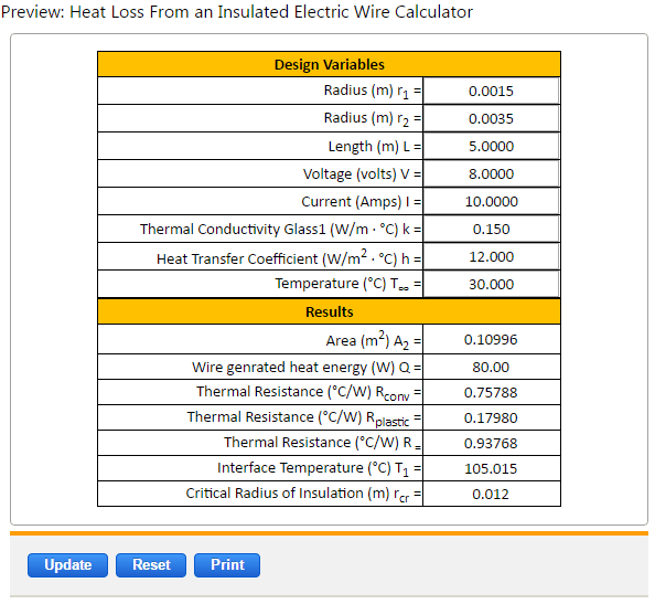Heat Loss Insulated Electric Wire Equations and Calculator