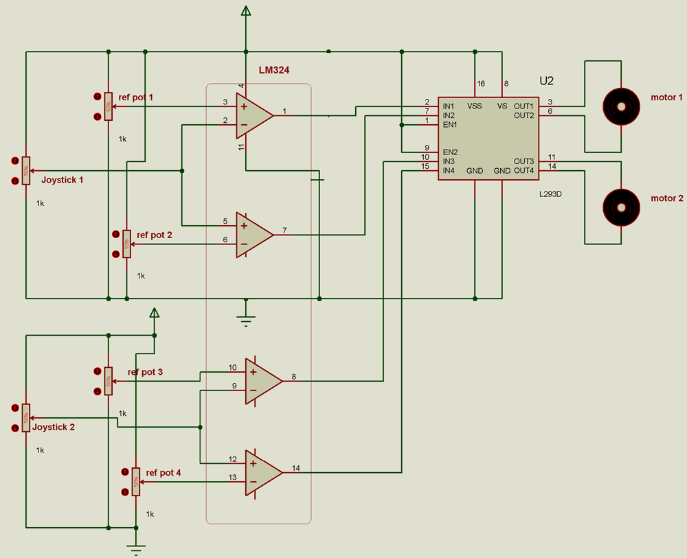 hight resolution of joystick based dual dc motor controller using op amp