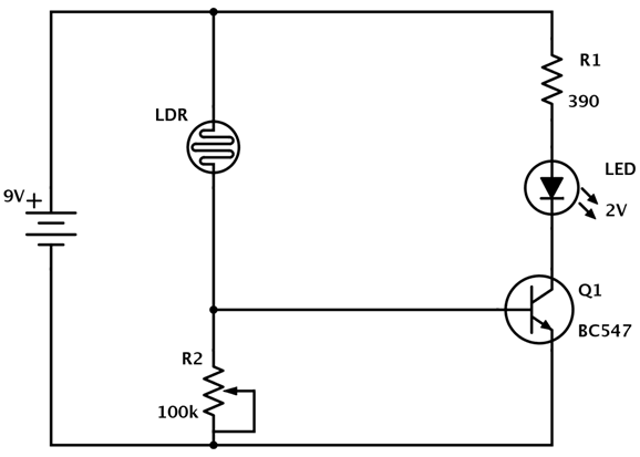 Making a Light Detector Using LDR Circuit Diagram