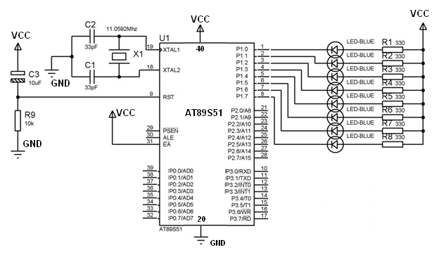 Making blinking pattern of leds with 8051 microcontroller
