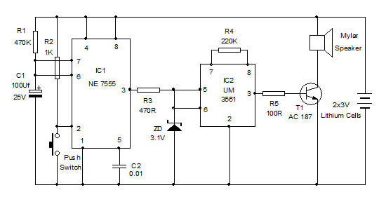 Emergency Alarm using monostable mode of 555 timer IC and