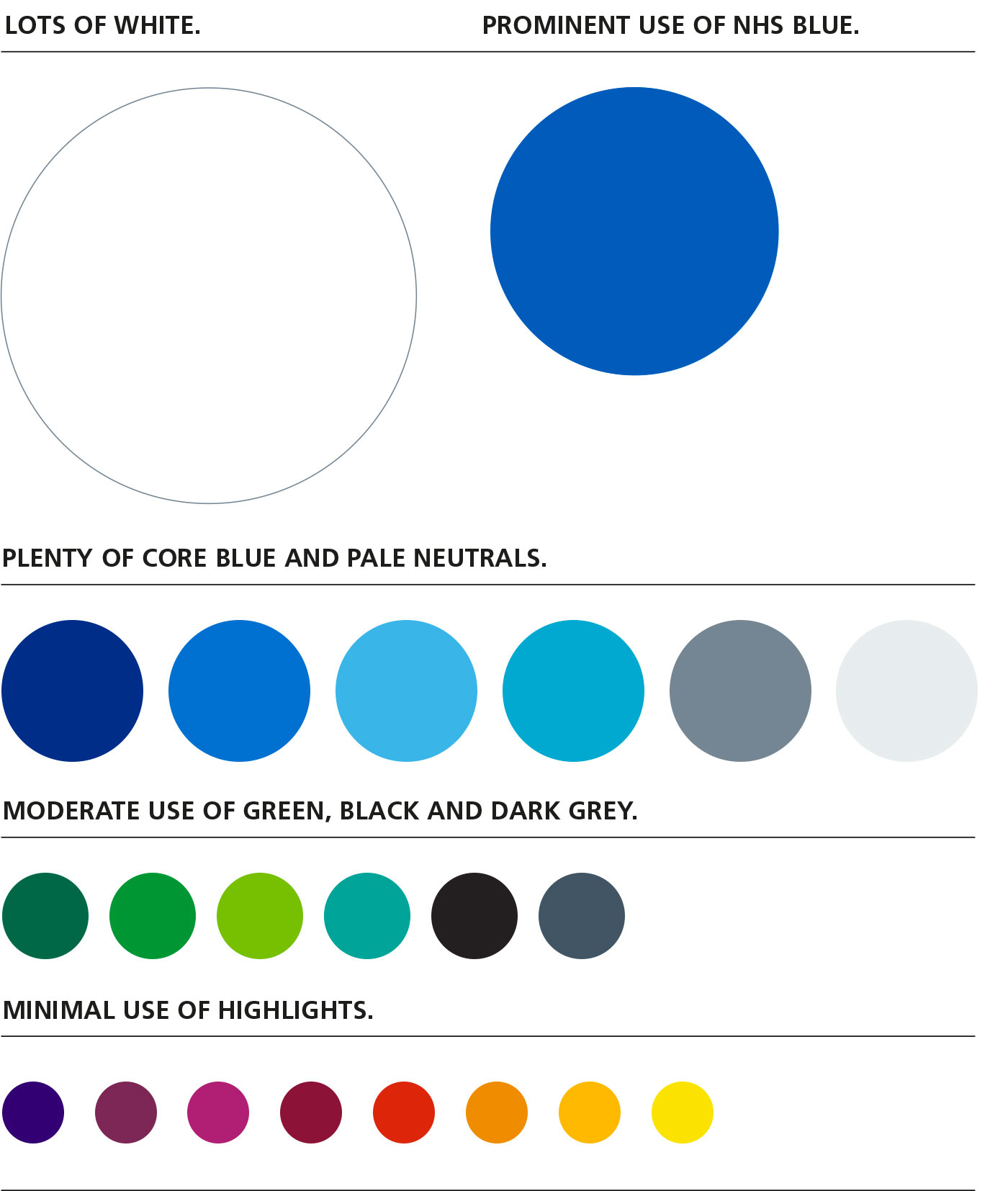 hight resolution of  nhs colour palette as long as they are used in decreasing levels of emphasis as shown in the chart below this ensures that materials are instantly